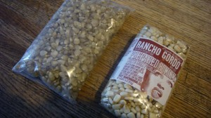 Packages of dried Chicos and Hominy